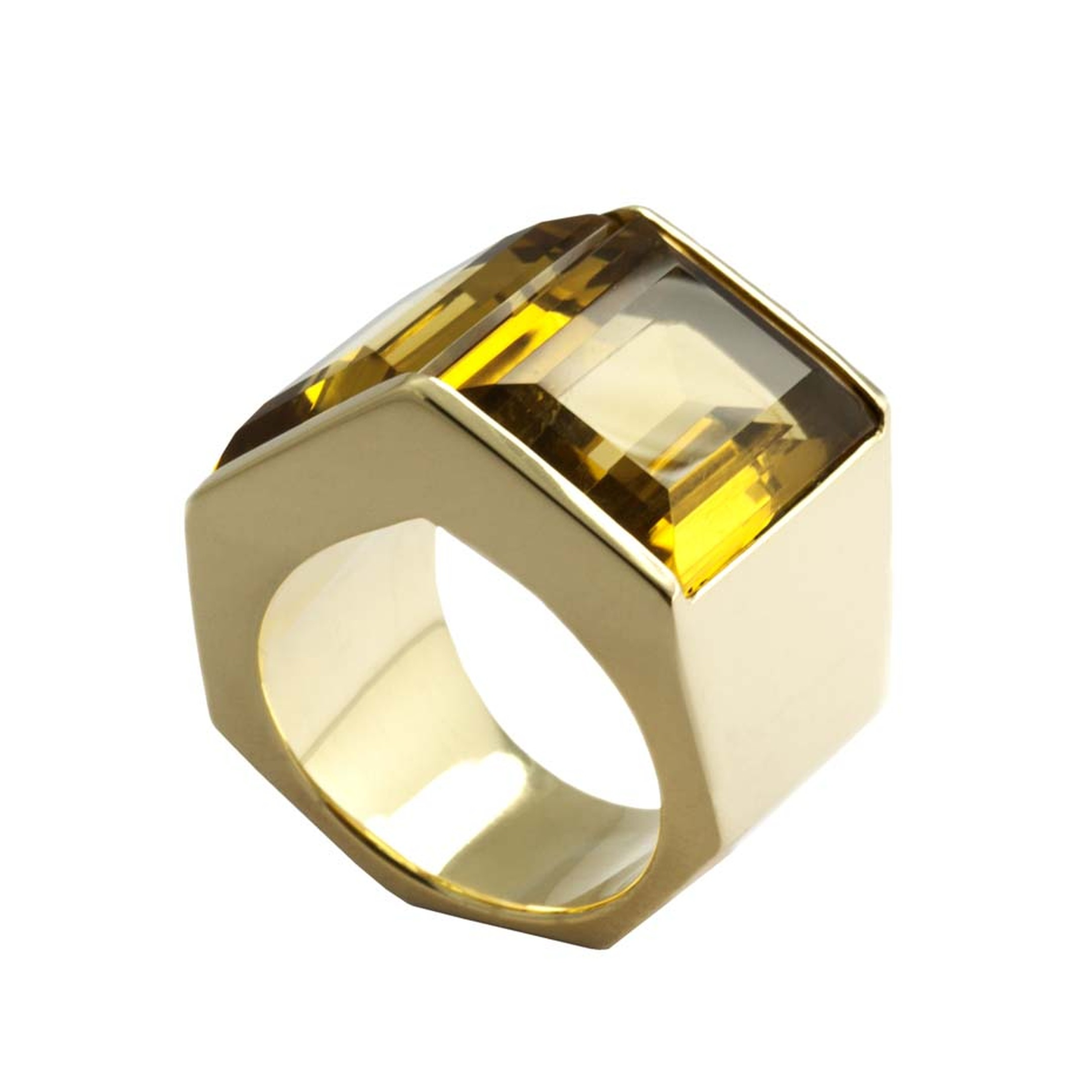 Kattri Polygon Tall yellow gold and citrine ring (£4,550).