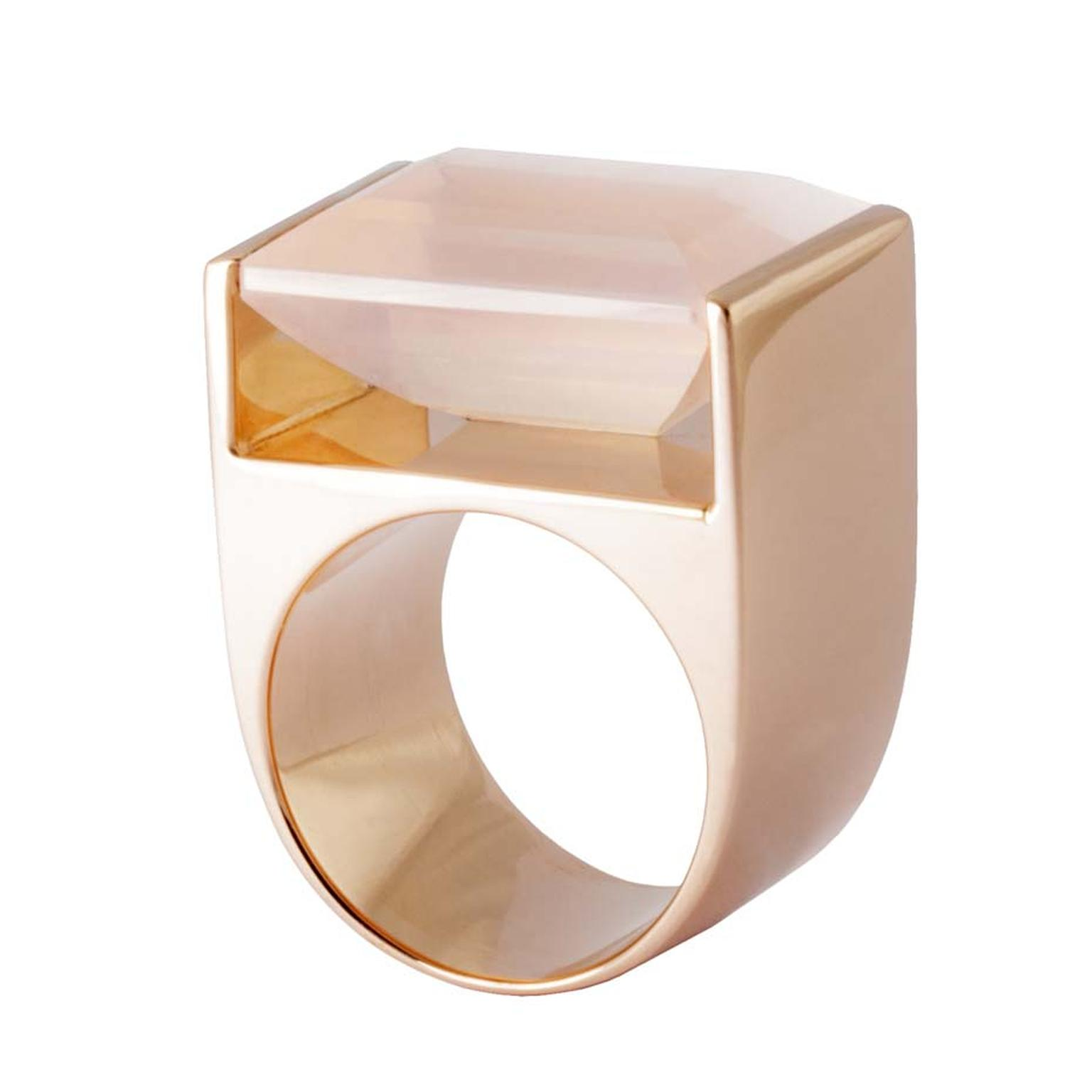 Kattri Quadrant rose gold and rose quartz ring (£4,900).