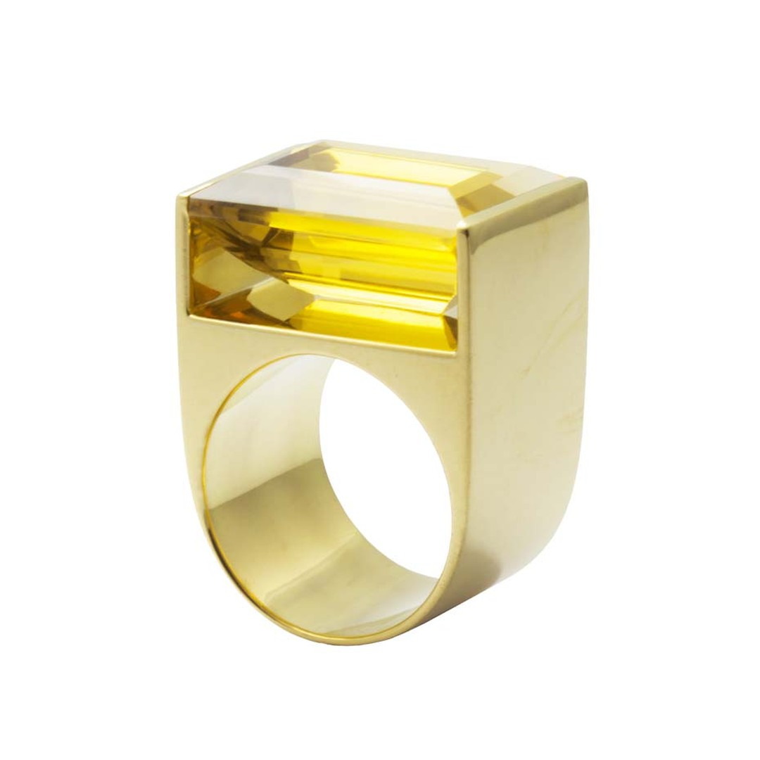 The Quadrant yellow gold and citrine ring, from the Geometry collection by fine jewellery designer Kattri, has been created using CAD 3D technology (£4,900).