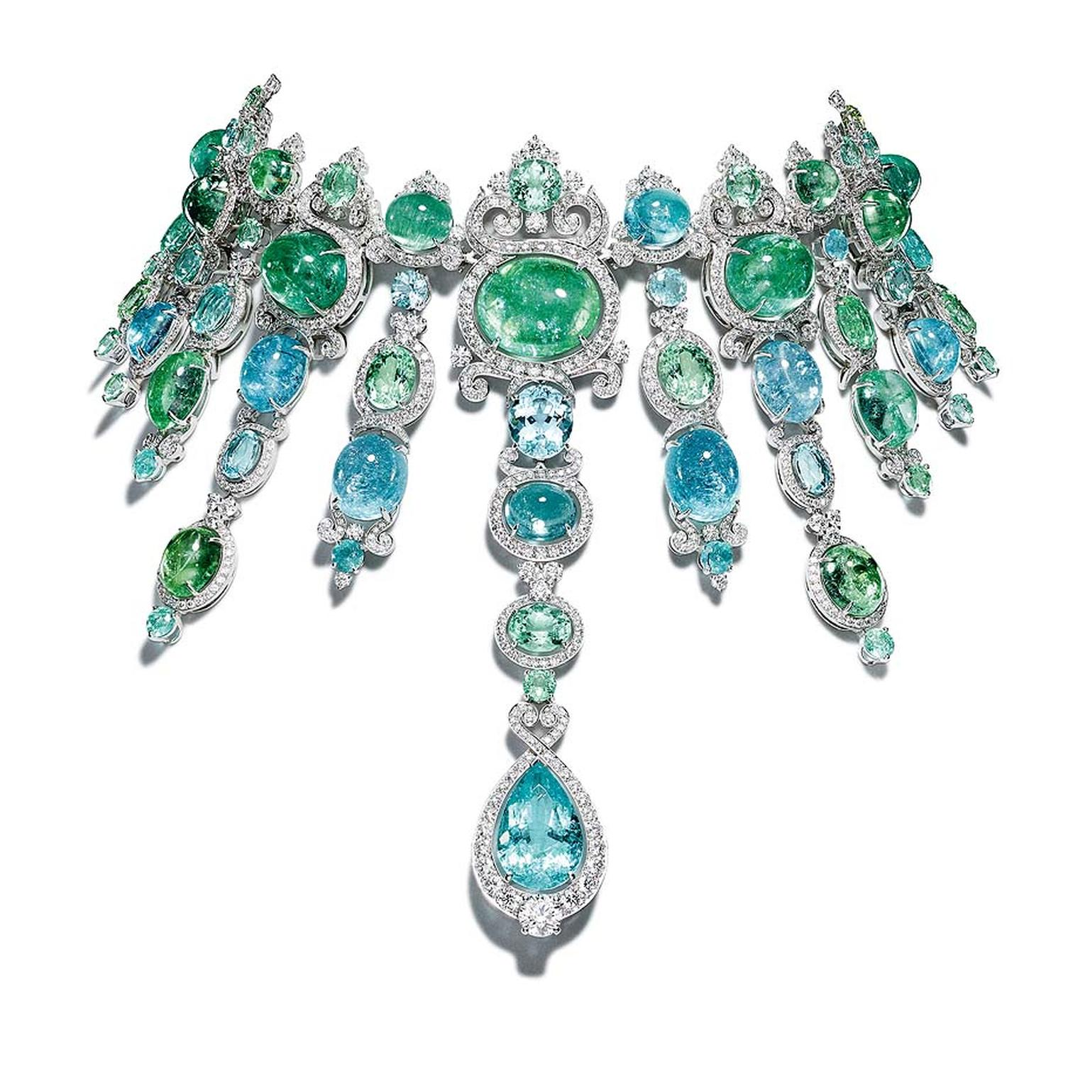 The show-stopping Giampiero Bodino Barocco choker, set with cascades of blue and green African Paraiba tourmalines totalling 326.21ct in white gold with diamonds.