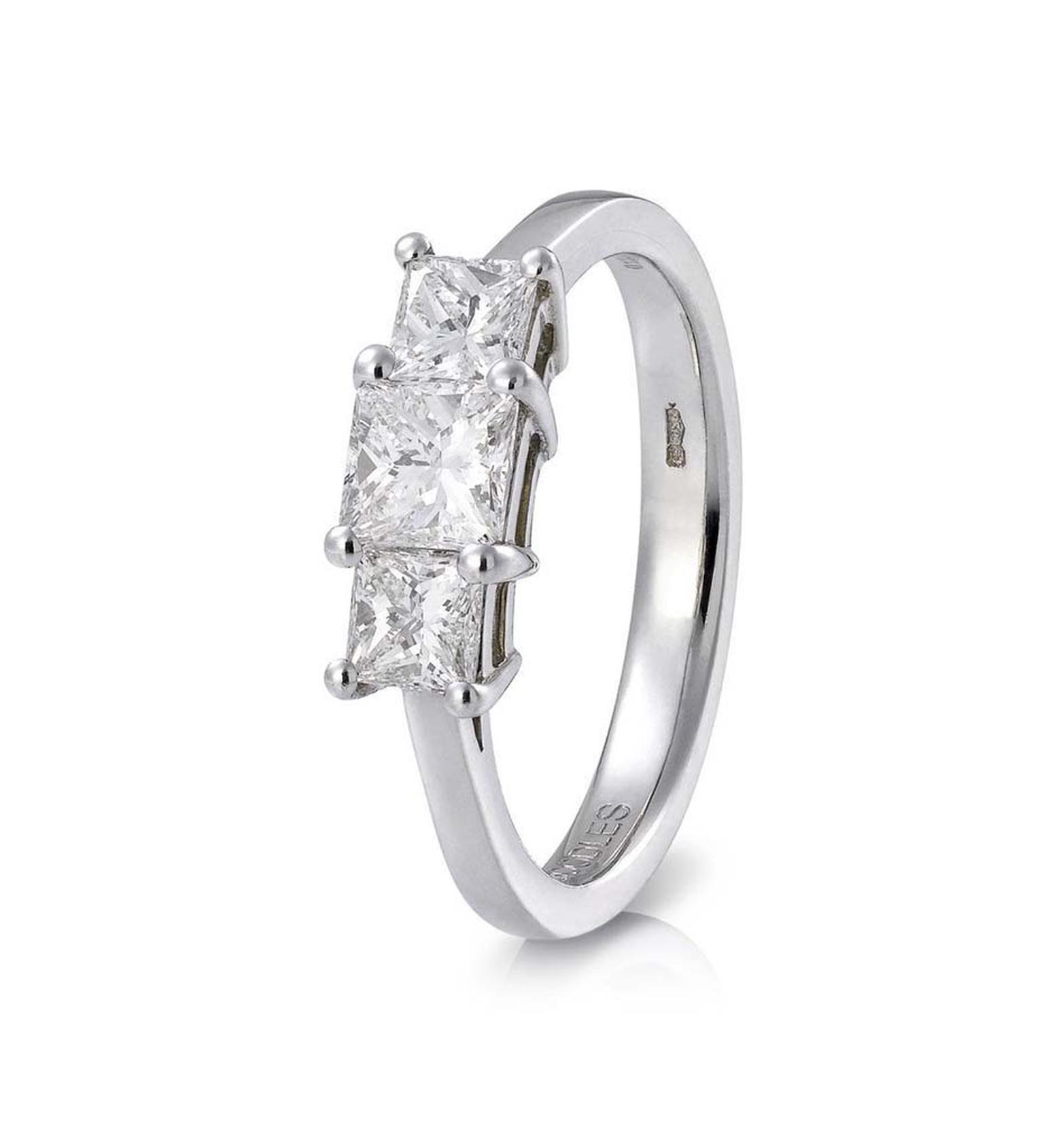 Trilogy Radiant Cut Diamond Engagement Ring