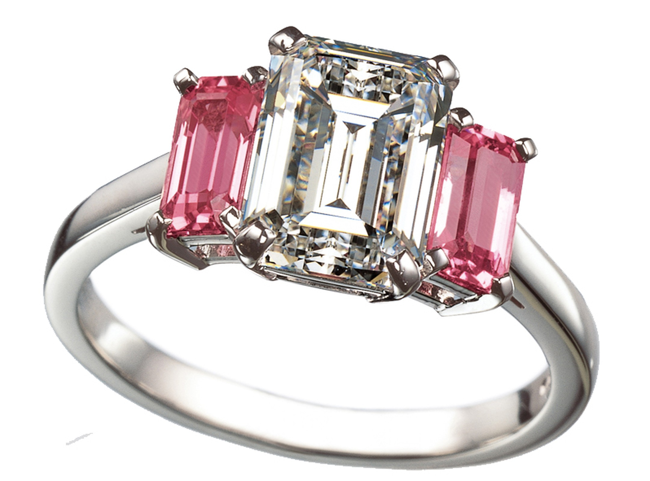 Ritz Fine Jewellery emerald-cut three stone engagement ring featuring one white diamond and two pink diamonds.