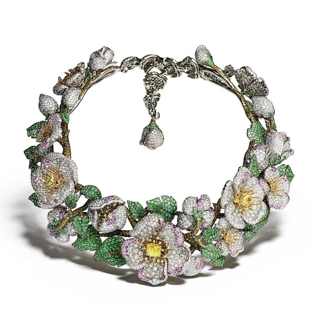 Giampiero Bodino Simonetta necklace from the Primavera collection set with yellow, white and cognac diamonds, pink sapphires and emeralds in white and yellow gold.