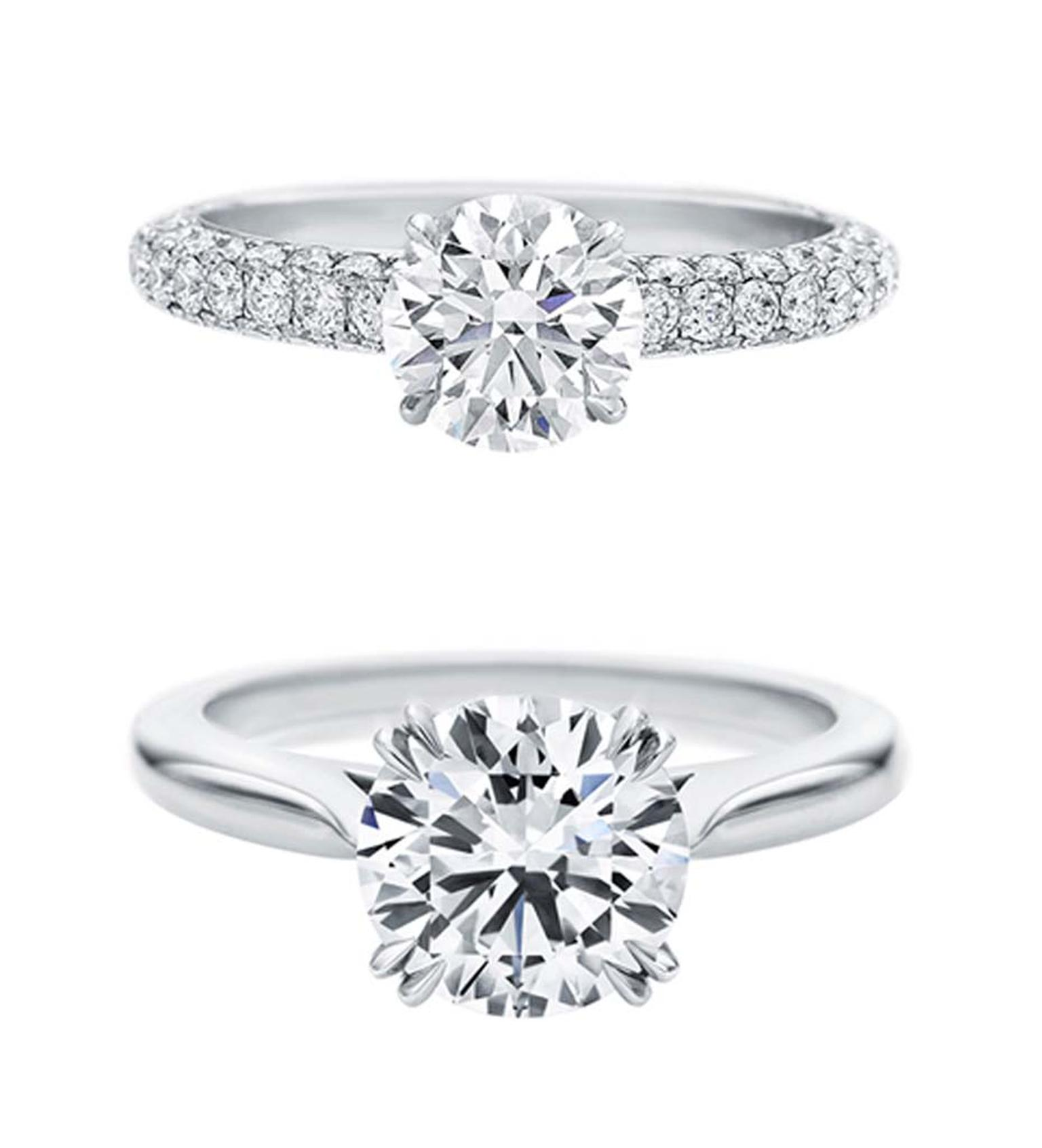 Harry Winston Attraction and Round Brilliant Solitaire diamond engagement rings