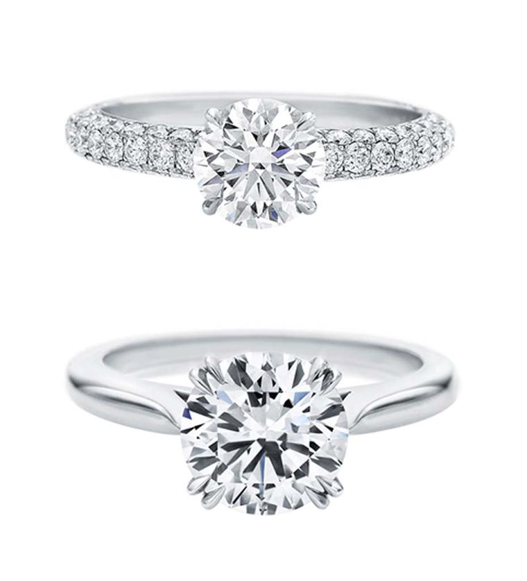 harry winston attraction and round brilliant solitaire diamond engagement rings - Harry Winston Wedding Rings