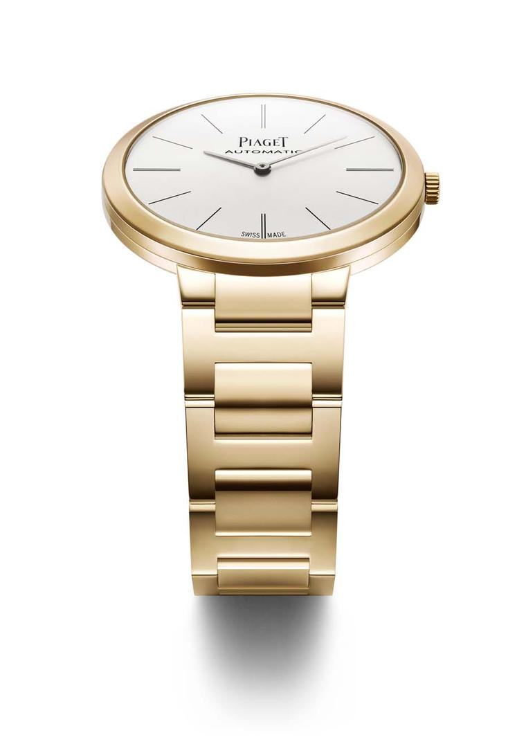 Piaget watches have always been admired for their ultra-thin movements and lean profiles, making them ideal dress watches. The new Altiplano collection with gold bracelet is no exception, including this 38mm rose gold model for men.