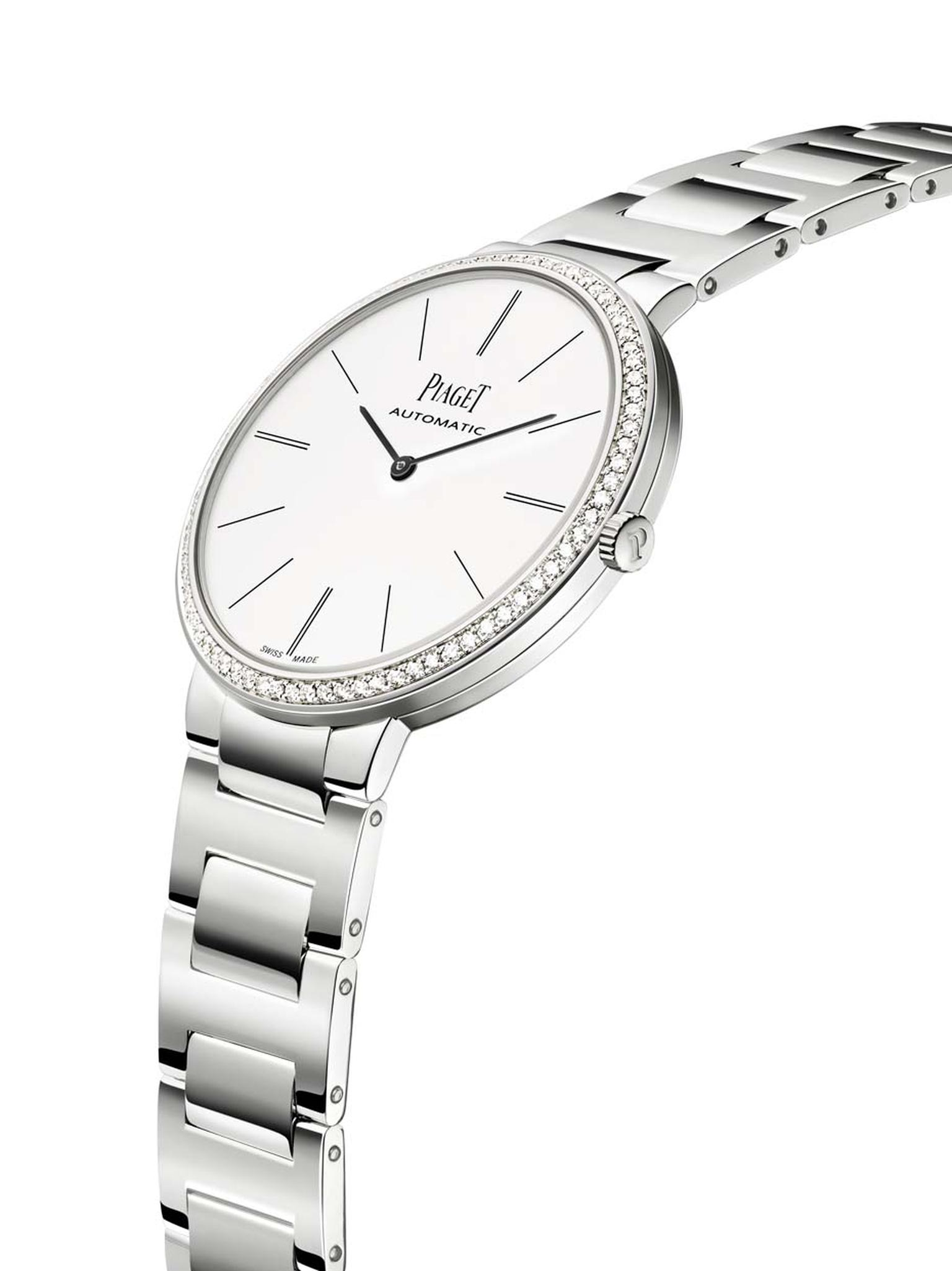 Piaget Altiplano 38mm white gold men's watch is enhanced with 78 brilliant-cut diamonds on the bezel. The smaller ladies' model sparkles with 68 diamonds.