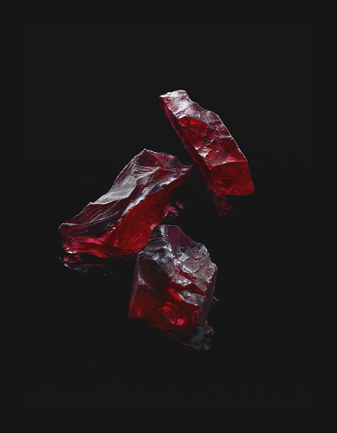 Gemfields production of African rubies in its Mozambique mine has enabled production of some stunning ruby jewellery, when the rough-cut gemstones, like these, are polished into beautiful jewels.