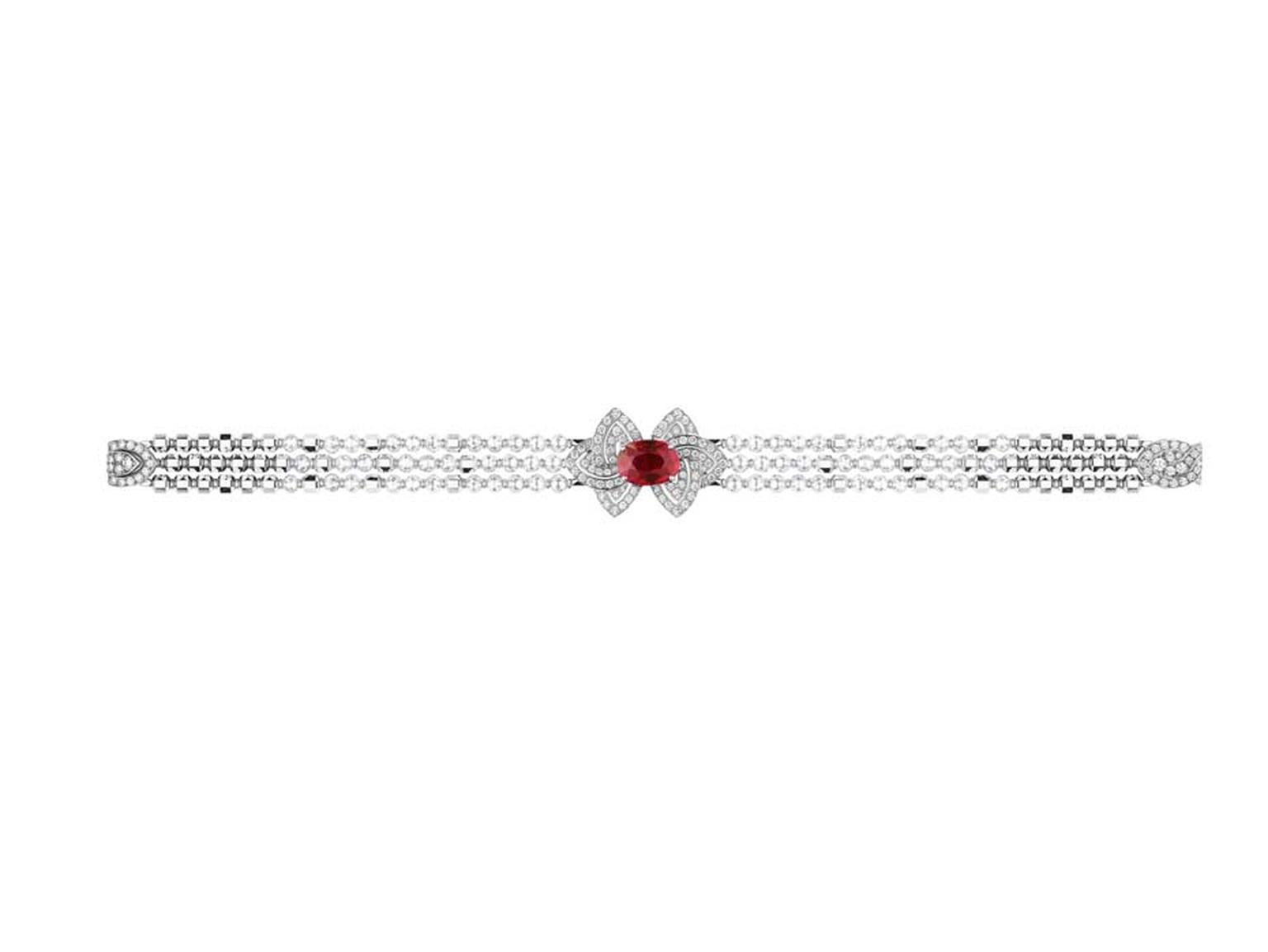 Louis Vuitton bracelet set with an African ruby flanked by diamond-shaped petals.