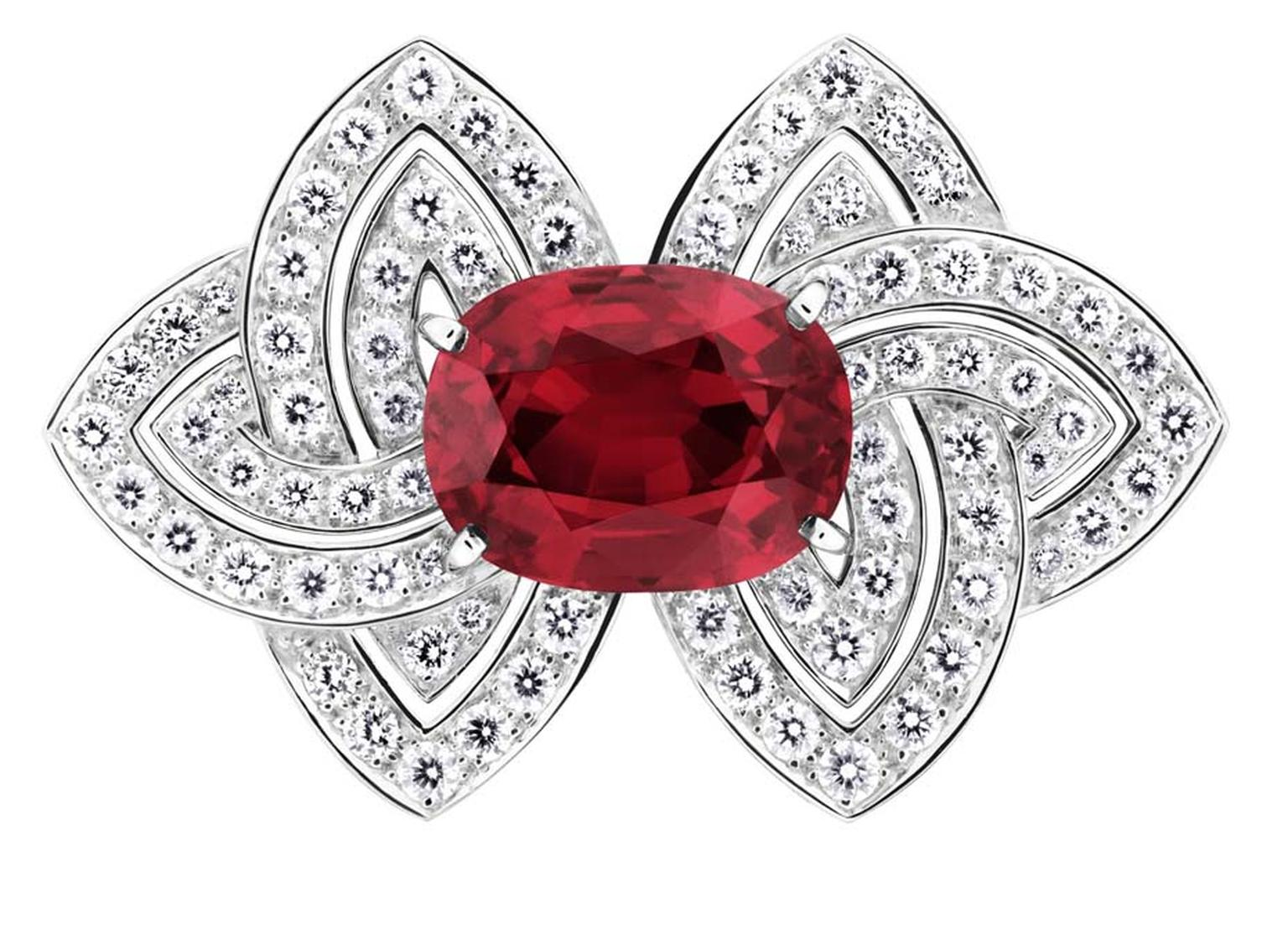 Louis Vuitton high jewellery ring featuring a centrally set African ruby, flanked by diamonds.