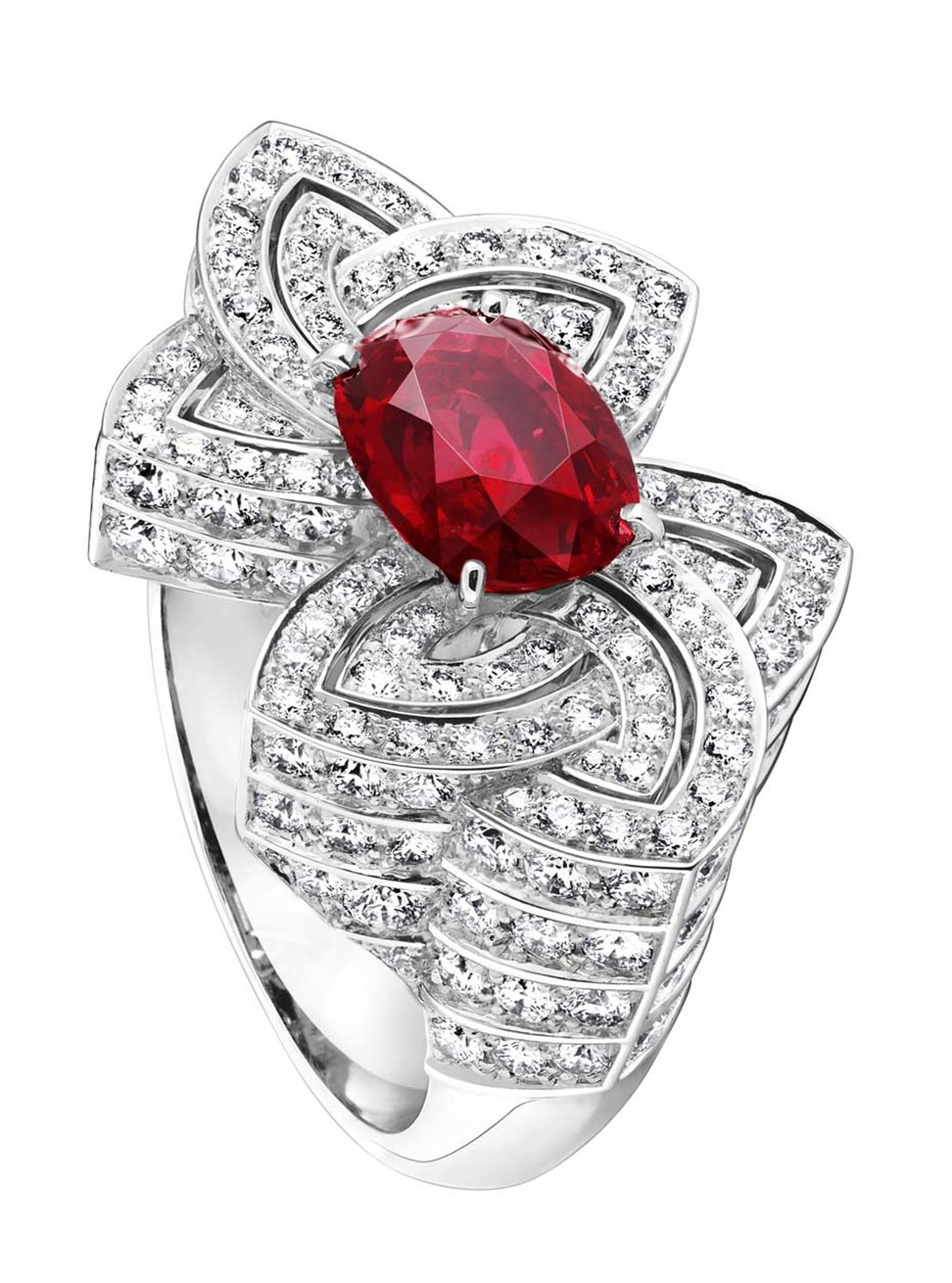 Louis Vuitton ring featuring a central African ruby, flanked by diamond-shaped petals.