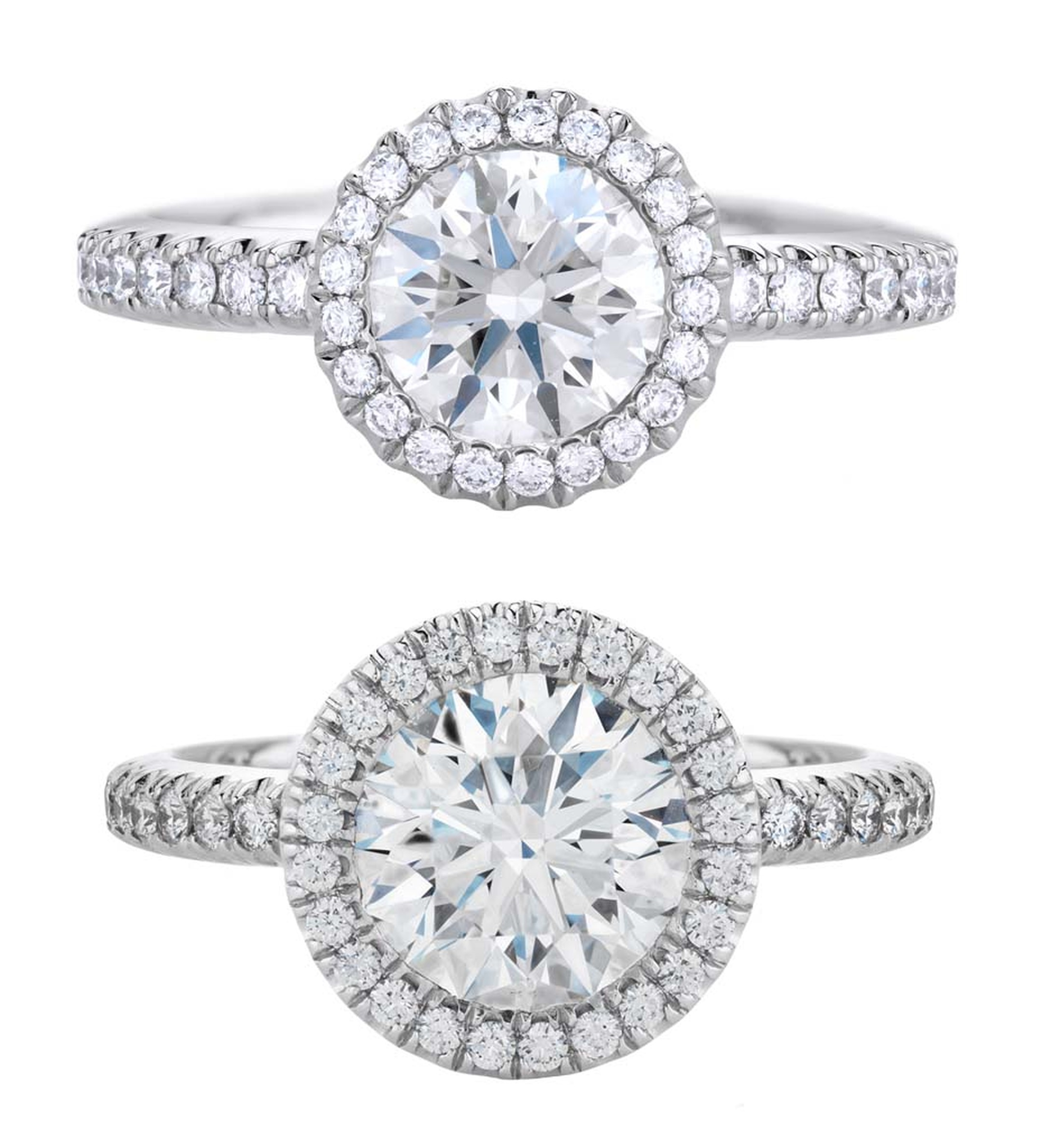 De Beers Aura 1 carat diamond engagement ring and 2 carat diamond engagement ring