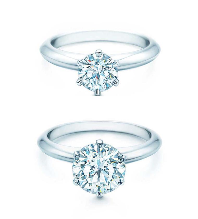 The Tiffany Setting diamond engagement ring shows the difference between a 1 carat diamond and 2 carat diamond