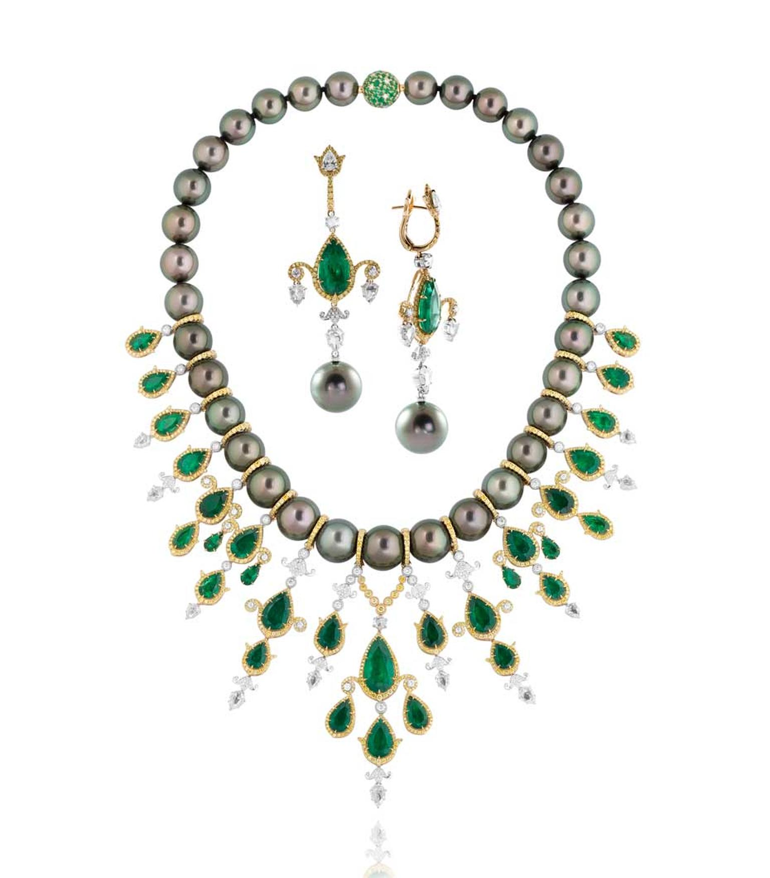 Former Couture Design Awards finalist Alessio Boschi's Breakfast in Jaipur Tahitian pearl, emerald and diamond necklace and earrings.