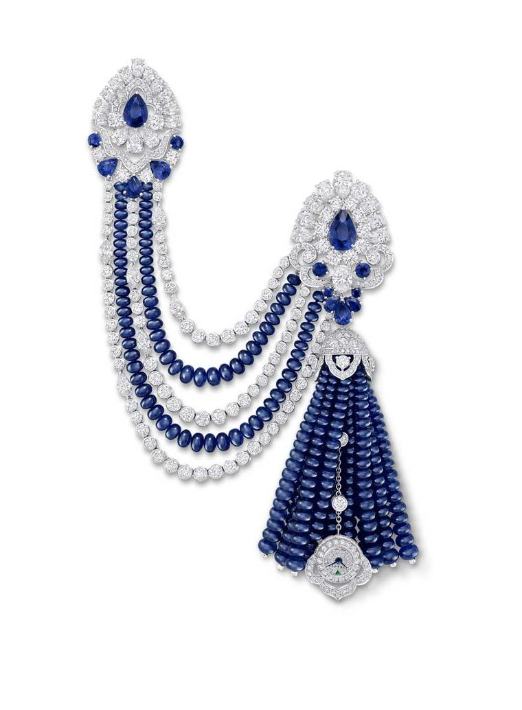 Hidden behind the sapphire bead tassels in Graff's one-of-a-kind jewel is a tiny secret watch with a pavé diamond face.