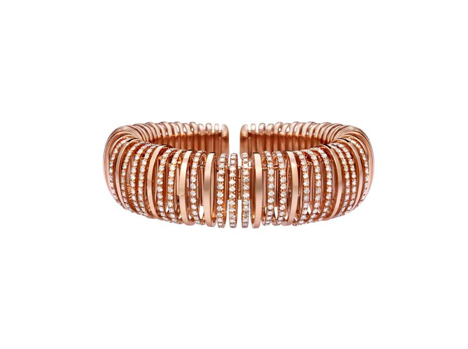 Mattia Cielo bracelet in rose gold with white pavé diamonds from the new Pavone collection.