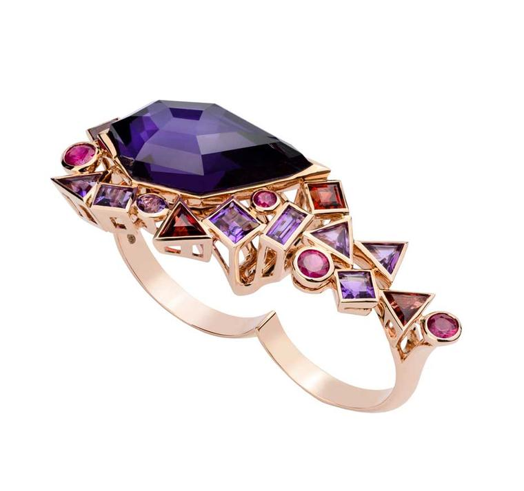 Stephen Webster 'Gold Struck' Crystal Haze Two Finger Ring in rose gold set with Rhodolite garnet, ruby, amethyst and amethyst over hematite  from the new Gold Struck collection, which was inspired by the Cheapside Hoard.
