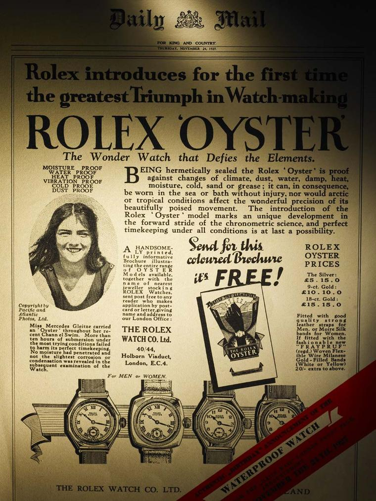 Hans Wilsdorf took out a front page ad in the Daily Mirror to flaunt the Rolex Oyster watch's impeccable performance - a precursor in the use of winning testimonials.