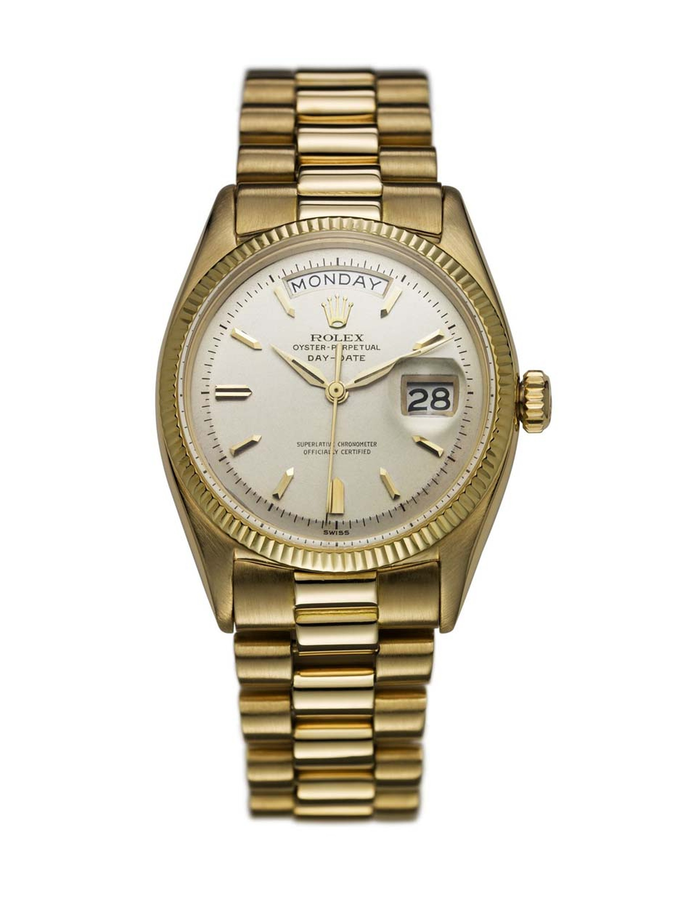 The Rolex Day-Date watch from 1956 was the first watch to display the date and the day of the week spelt out in full in a window at the top of the dial.