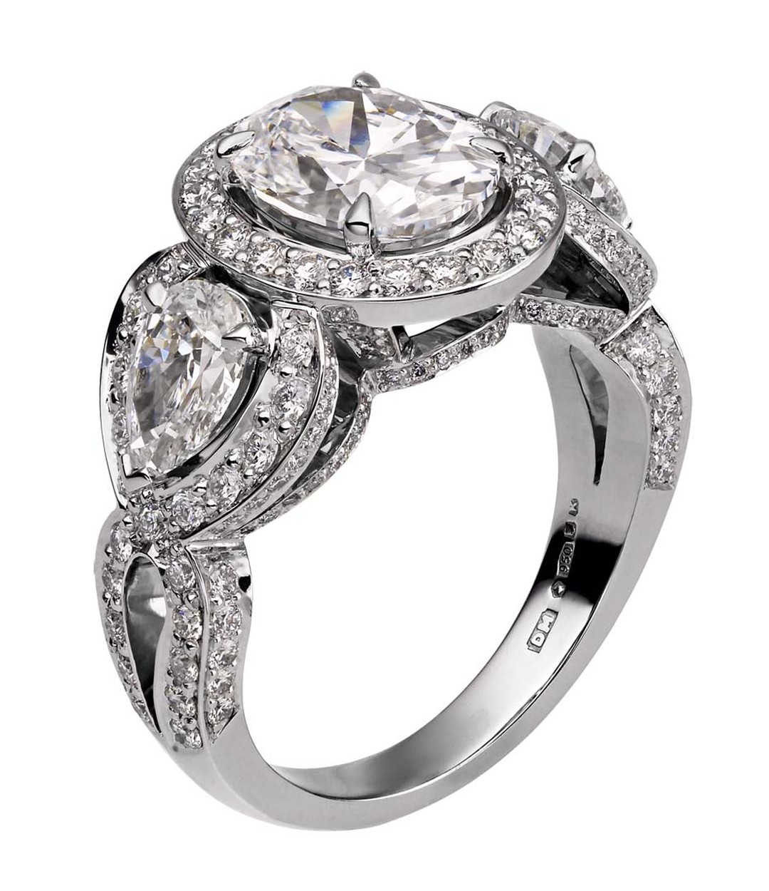 A 2 carat diamond ring, like this David Marshall 2.05ct oval-cut diamond ring, will cost almost four times as much as a 1 carat diamond ring due to the fact that larger diamonds are rarer, especially when they are of such high quality.