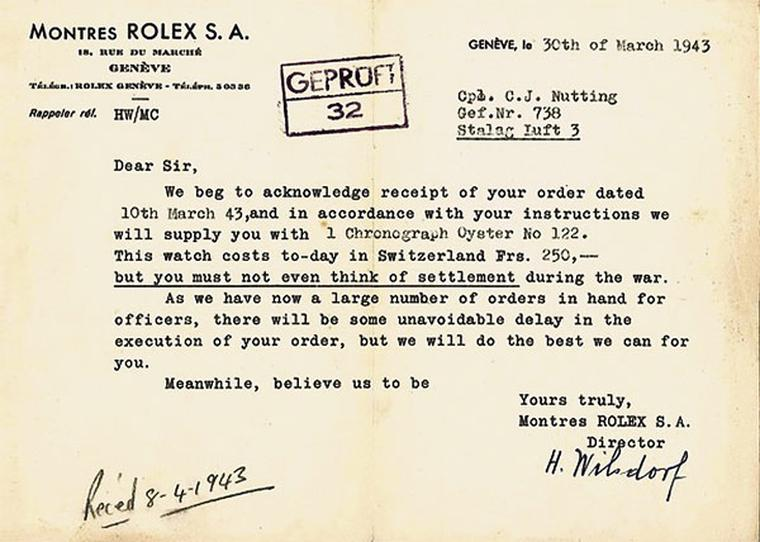 Wilsdorf offered British POW officers the chance to order new Rolex watches and pay for them whenever they were back on their feet and earning a salary again. This particular receipt belonged to Cpl. Nutting, one of the British officers involved in the gr