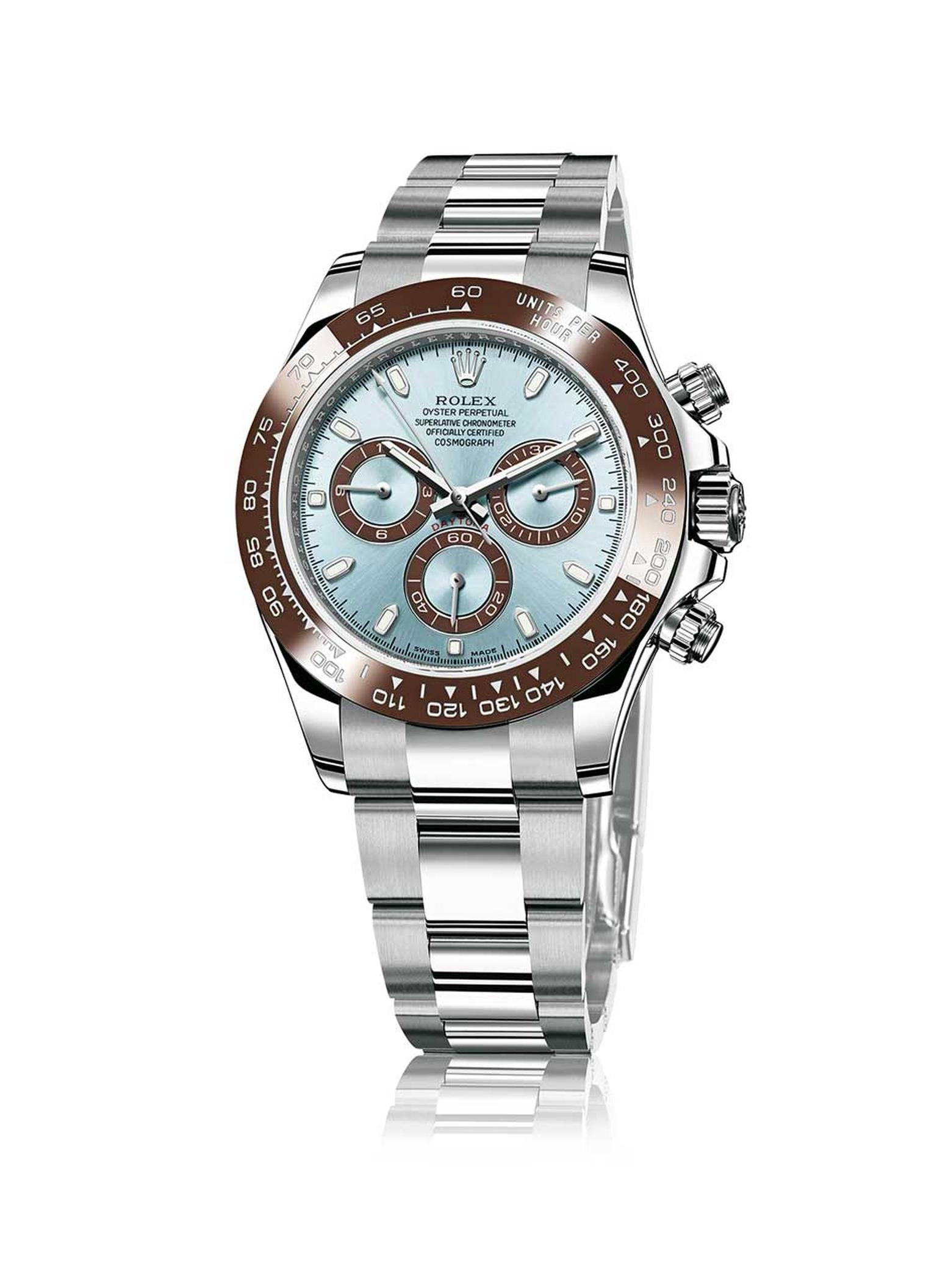 Rolex Cosmograph Daytona is continuously revisited in different materials and colours. This 50th anniversary model in platinum was presented in 2013.