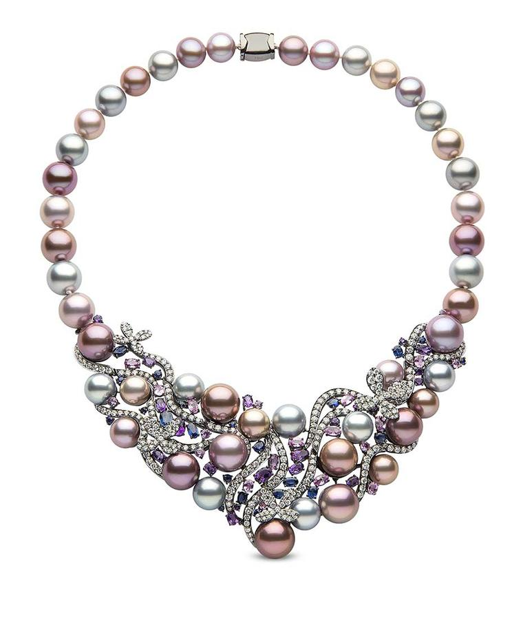 Yoko London pearl necklace in black gold, with 10-13mm natural colour Tahitian and freshwater pearls, diamonds, blue sapphires, pink sapphire and amethysts.