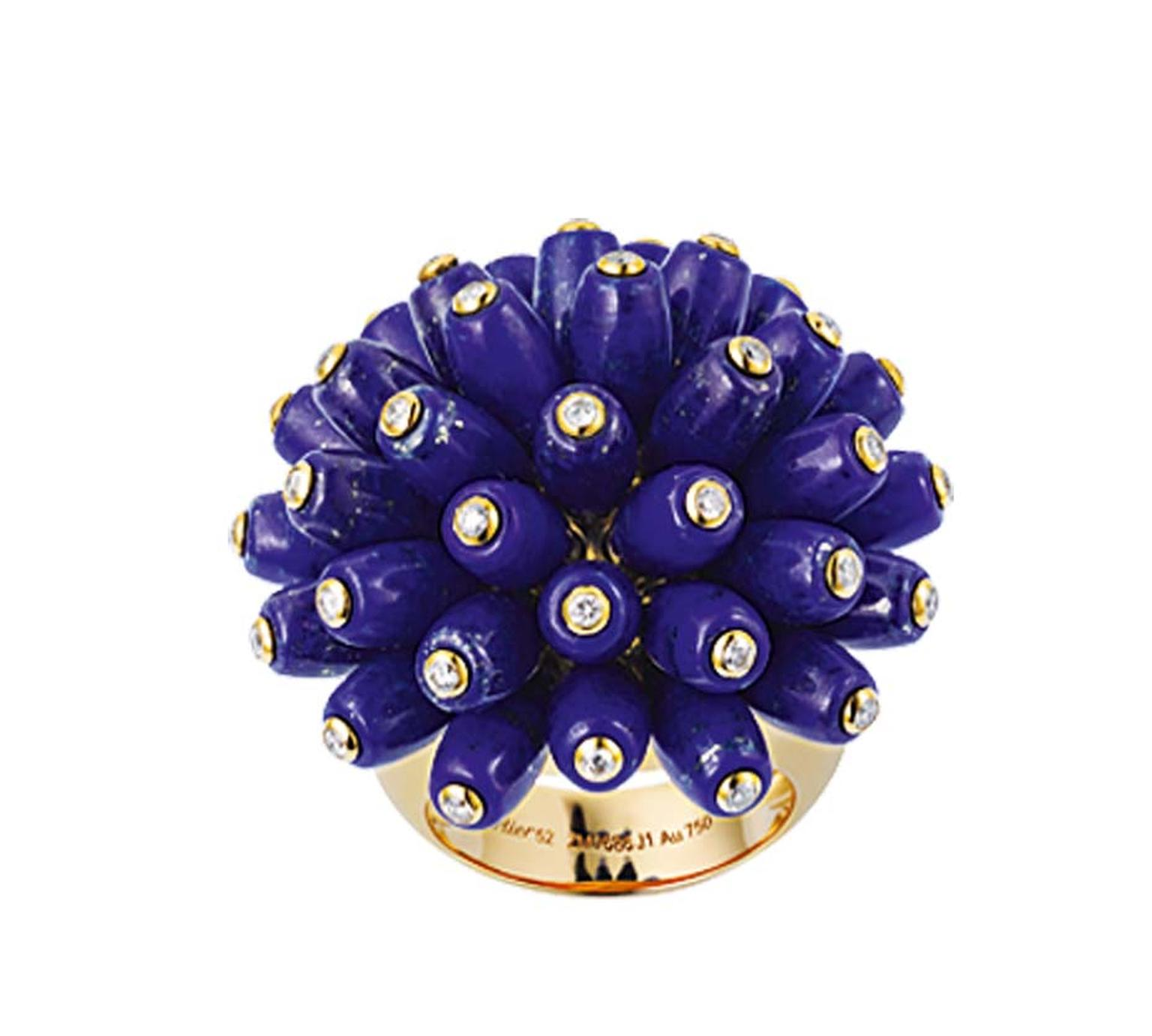 The unique design of this Cartier ring, with its lapis lazuli tubes dotted with diamonds that writhe and wriggle, brings Cartier jewellery bang into the 21st century.