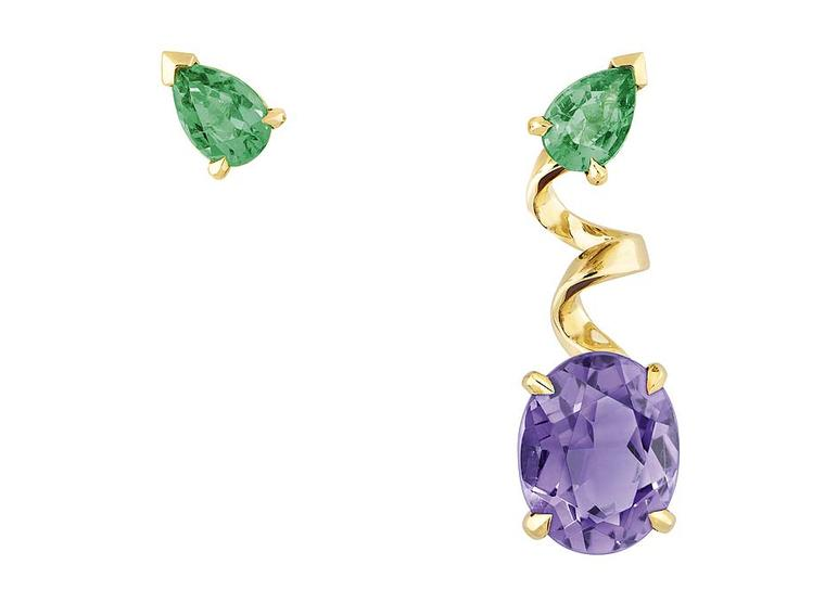 The asymmetric amethyst and emerald earrings from Dior's new Diorama Precieuse capsule collection tap into the trend for mismatched jewels.