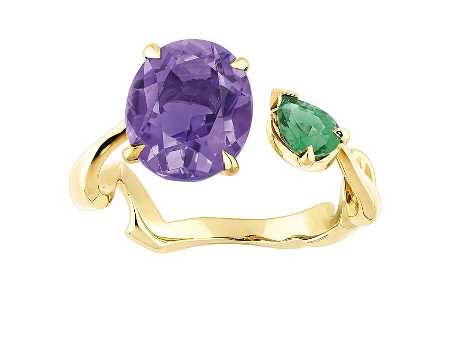 Amethyst and emerald Dior ring from the Diorama Precieuse collection with an on-trend open-ended design.