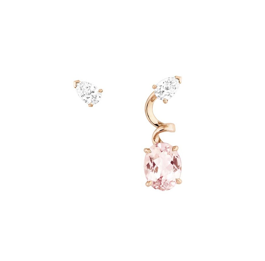 Asymmetric Dior earrings in rose gold with pink morganite and diamonds from the new Diorama Precieuse collection.