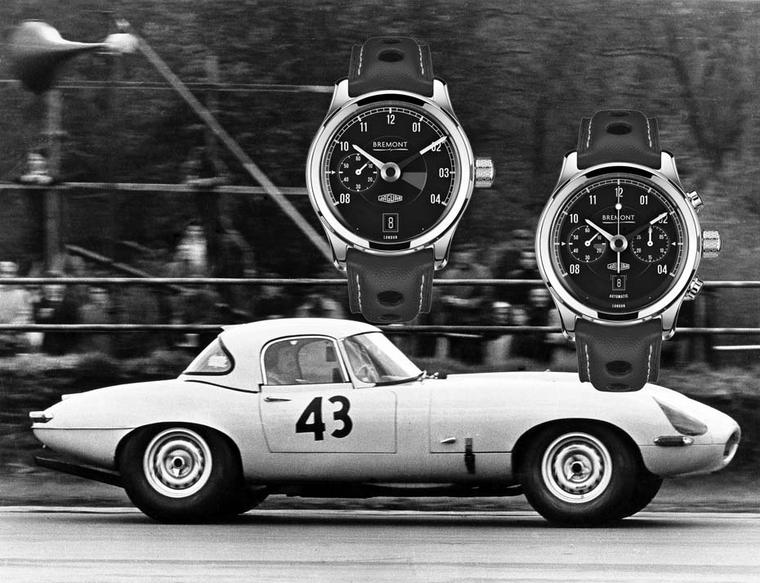 Jaguar and Bremont watches have collaborated on two new timepieces inspired by the mythical Jaguar E-Type car launched in 1961. Both the Jaguar MKI and MKII watches recreate motifs from the dashboard of the Jaguar's speedometer and rev counter.
