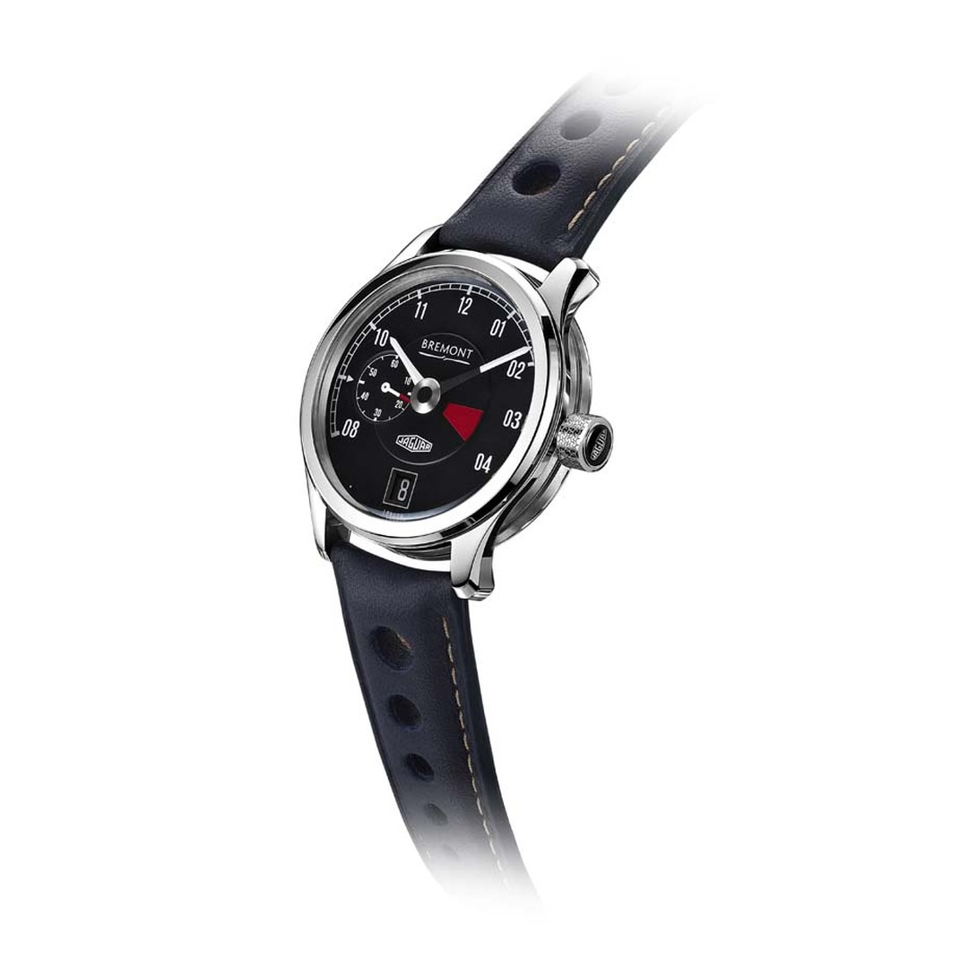 Bremont MKI watch takes design cues from the Jaguar E-Type 1961 racing car with a tachometer-inspired dial, an off-set small seconds indicator, and a red line quadrant between 3 and 4 o'clock.