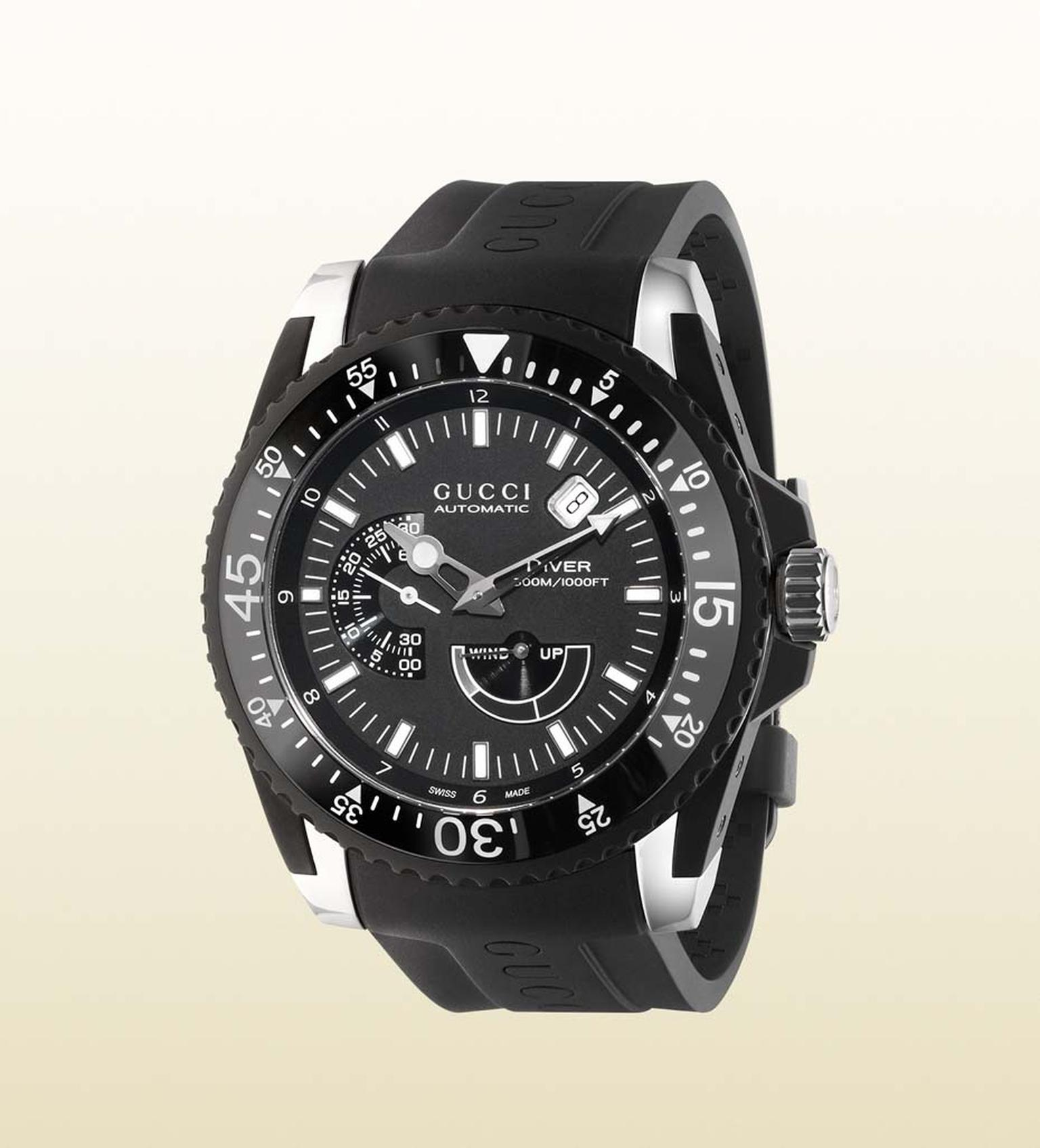 Gucci men's Dive watch will also be presented in a 45mm stainless steel and black PVD model.