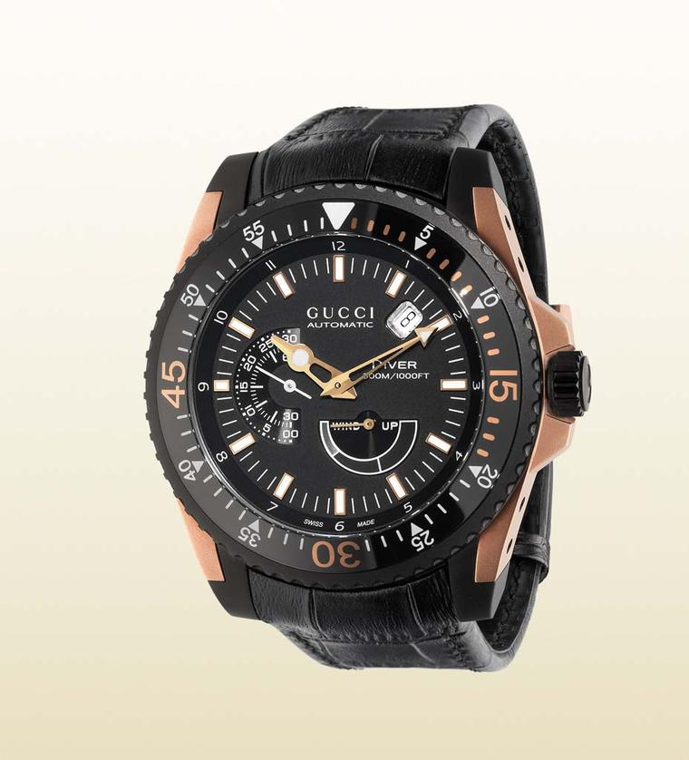 The new Gucci Dive watch has passed the strict ISO 6425 standards that certificate the watch as an authentic diver. The watch comes in a 45mm black PVD and rose gold model, and is water-resistant to 300 metres.