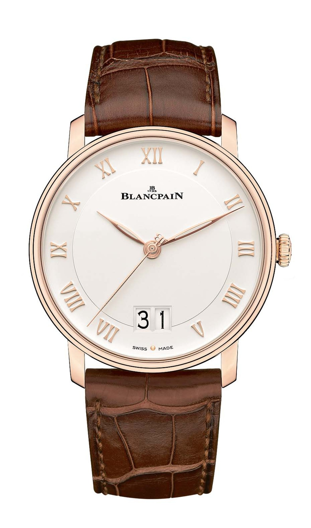 Blancpain watches revisits its Villeret Grande Date model this year with a large double date window at 6 o'clock for enhanced legibility. This elegant men's dress watch is presented in a 40mm rose gold case with applied Roman numerals.