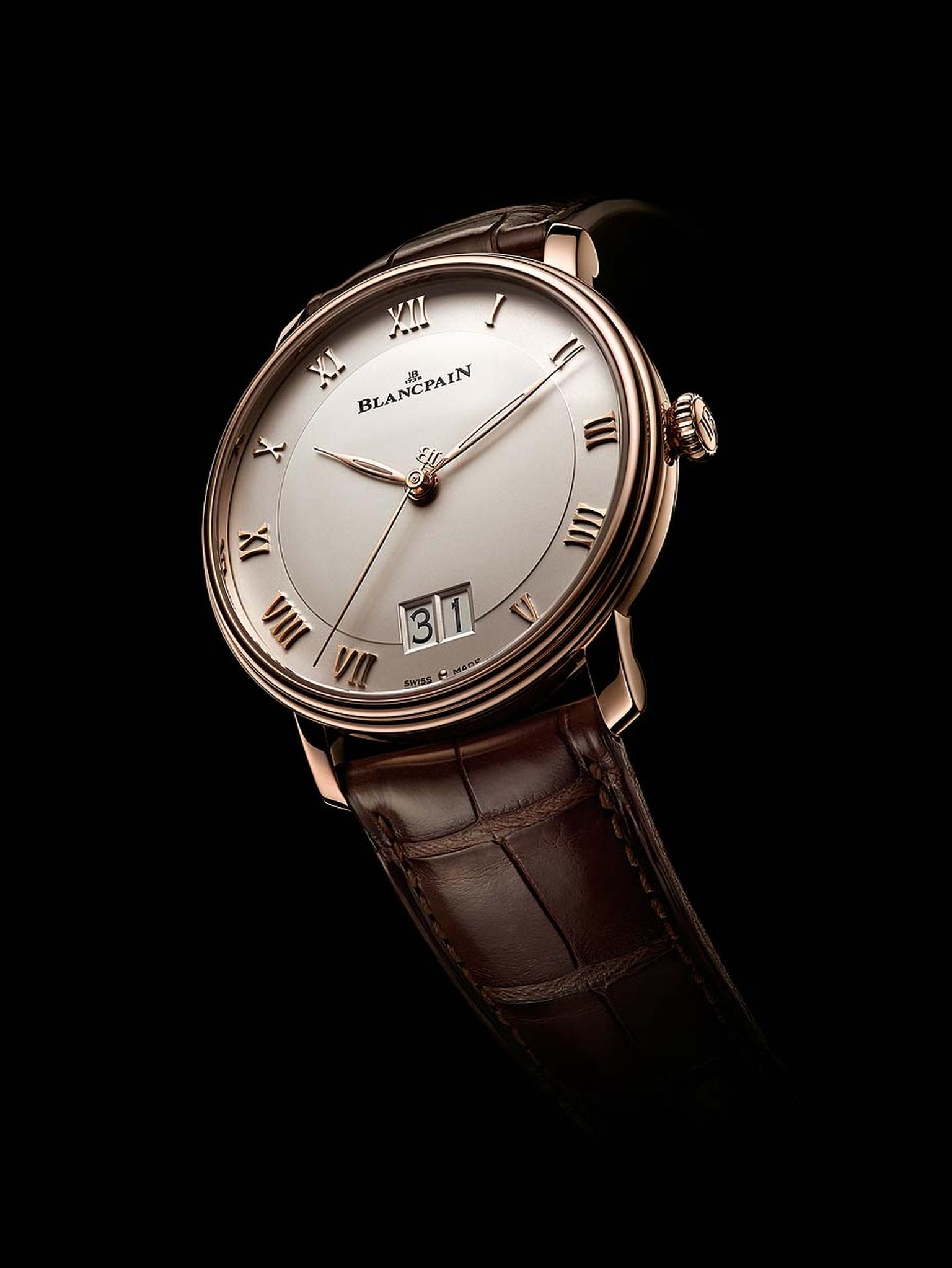 The new Villeret Grande Date from Blancpain watches operates with the new automatic calibre 6950, allowing the date to change instantly at midnight without adding any extra height to the movement's elegant profile.