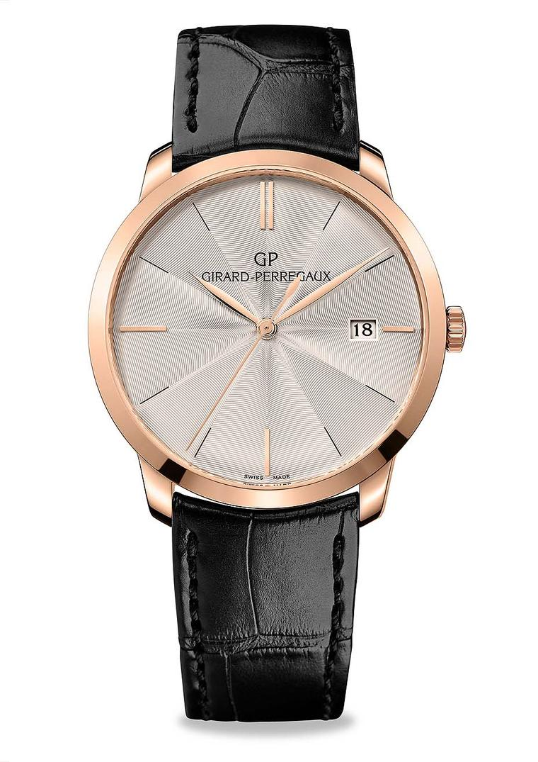 The new 1966 model from Girard-Perregaux watches, with a guilloché dial, comes in a 38mm rose gold case and beats to an in-house automatic GP calibre.