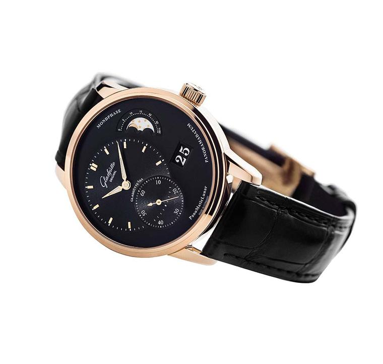 Glashütte Original PanoMaticLunar Moon phase watch for men in a 40mm rose gold case with a black galvanic coloured dial.