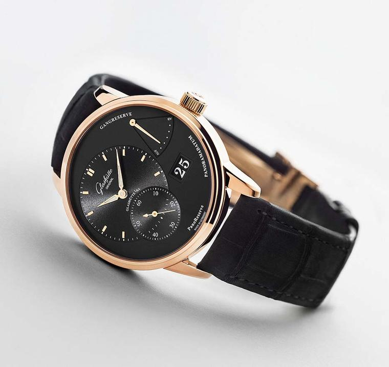Glashütte Original PanoReserve watch in a 40mm rose gold case with a black galvanic dial.