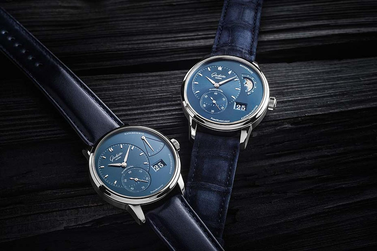 Glashütte Original PanoMaticLunar and PanoReserve watches with new sky blue dials and 40mm stainless steel cases. The PanoReserve model gets its name from the fan-shaped retrograde power reserve indicator on the right of the dial, and the PanoMaticLunar f