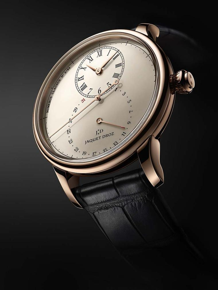 Jaquet Droz Grande Seconde Deadbeat watch features a deadbeat seconds complication making the large seconds hand jump as it passes each second on the 43mm dial. The hour disc and larger retrograde date display disc on the central dial overlap to create th