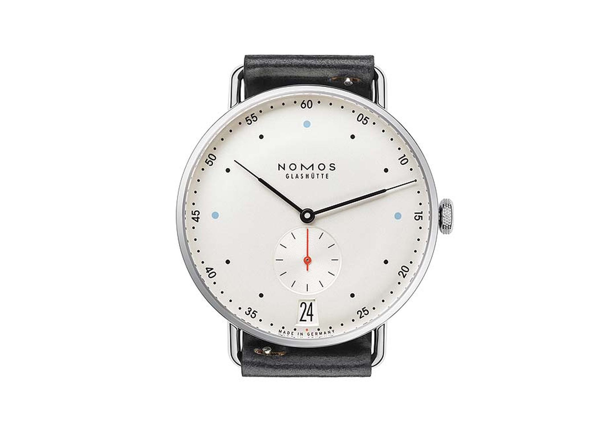 The award-winning Nomos Glashütte Metro watch is back this year with a larger case size of 38.5mm and the elimination of the mint green and red circular power reserve symbol on the dial (£2,200).