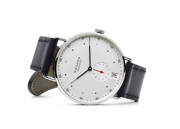 The new Nomos Datum watch with a 38.5mm stainless steel case features the brand's iconic Bauhaus styling.