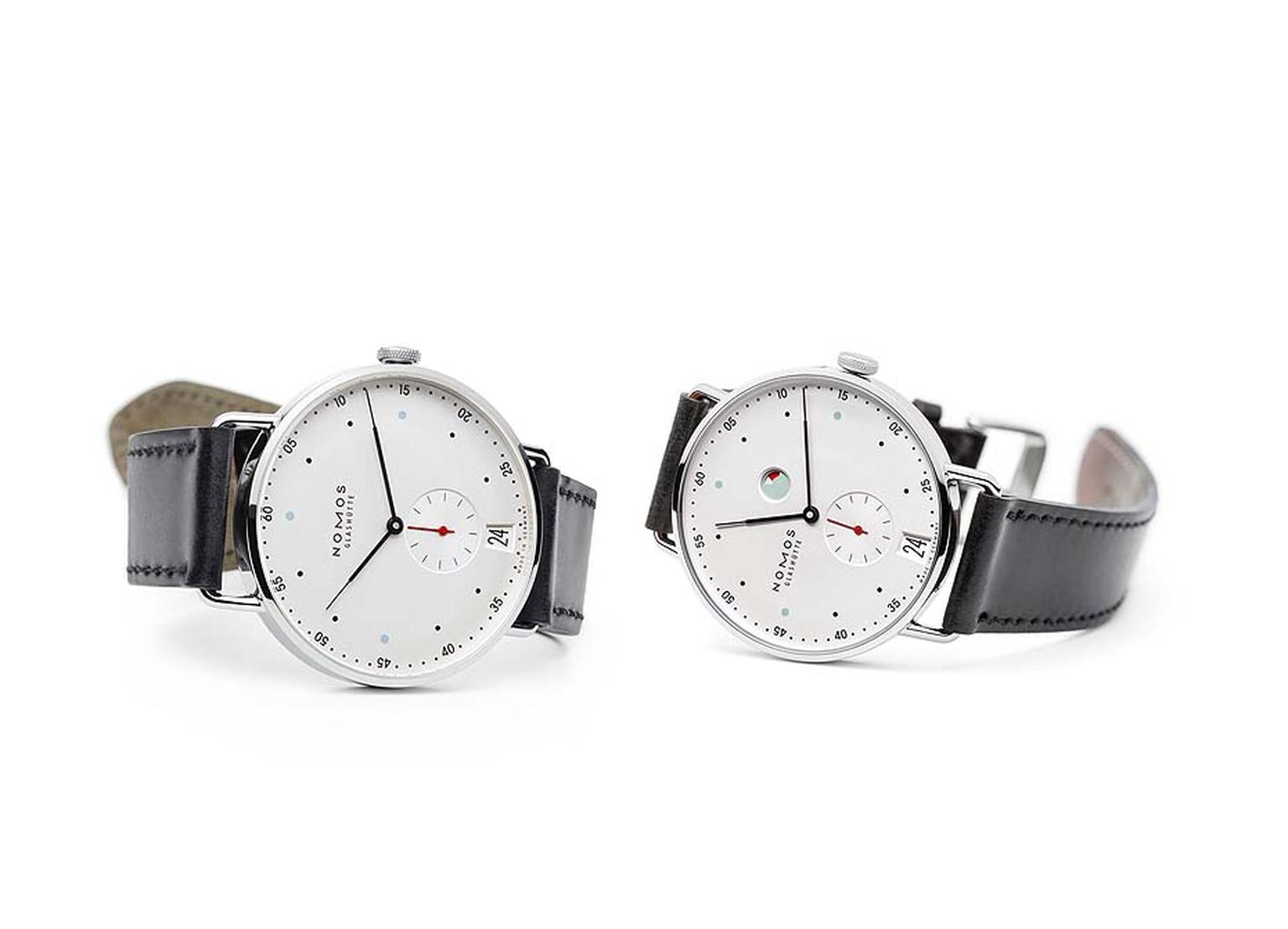 Nomos Datum (2015)  and Nomos Metro (2014) show how the brand has eliminated the mint green and red power reserve symbol on the dial and increased case size to 38. 5 mm.
