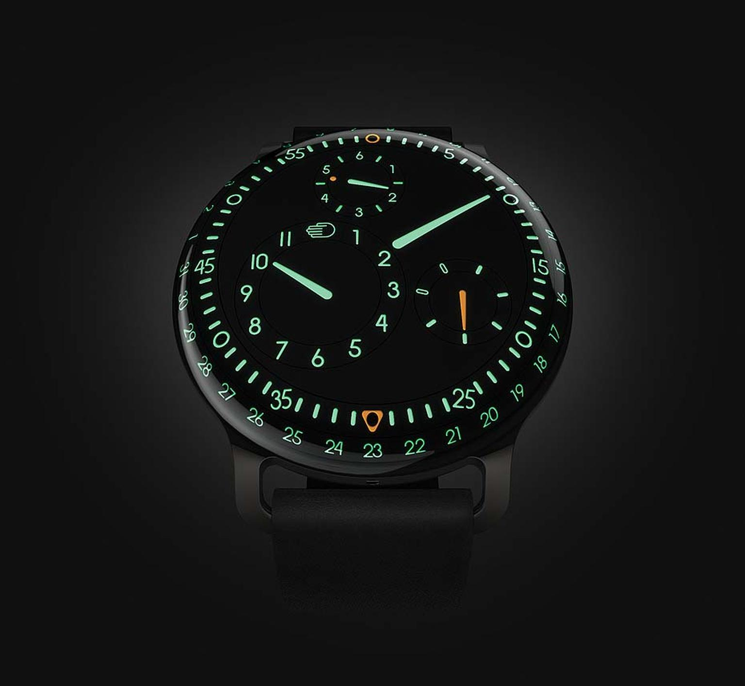 The new Ressence Type 3 watch lights up like the cockpit of an airplane at night with green and orange luminescence.