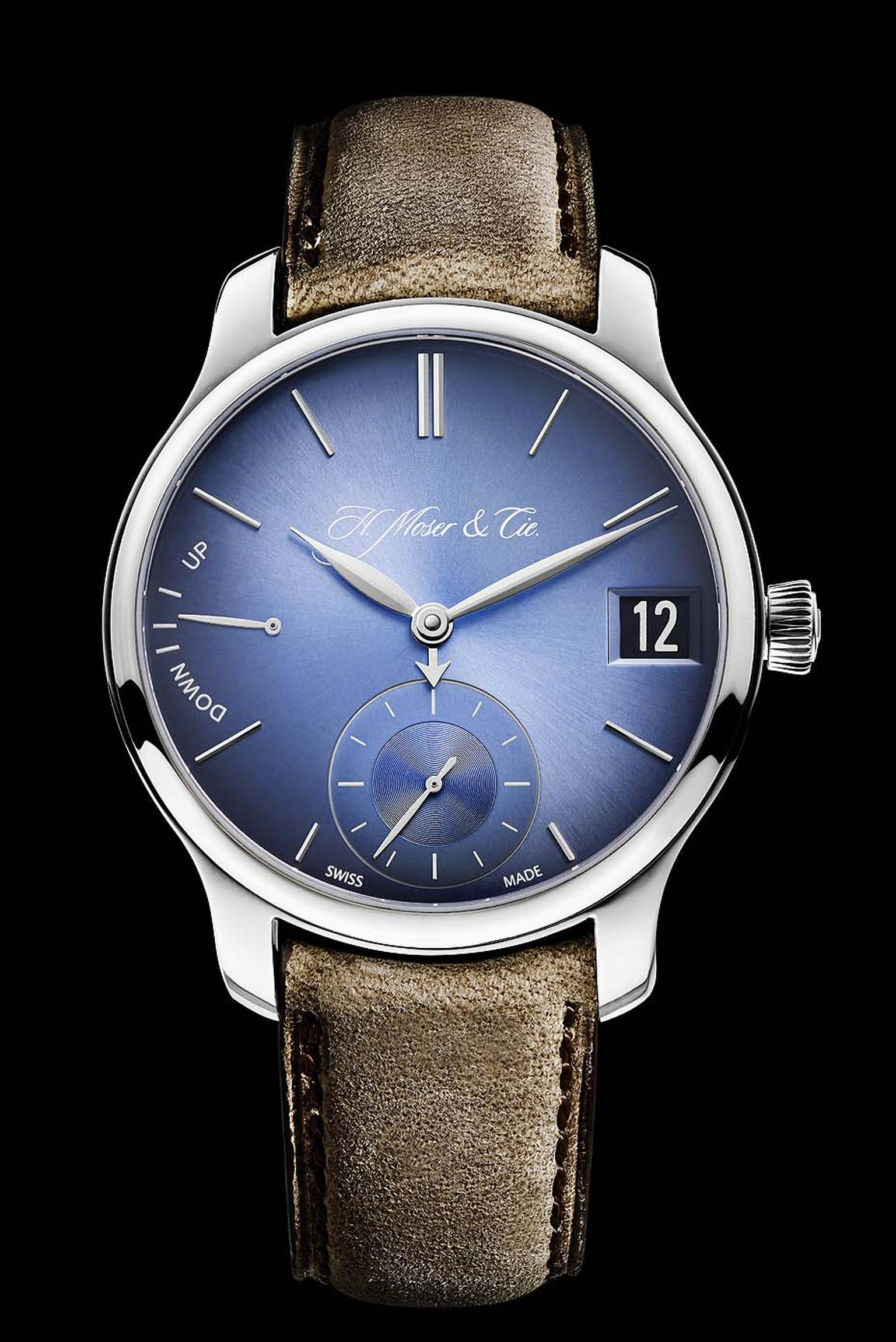 H. Moser & Cie. watches has given its highly complicated Perpetual Calendar a contemporary edge with an electric blue fumé dial and distressed leather strap.