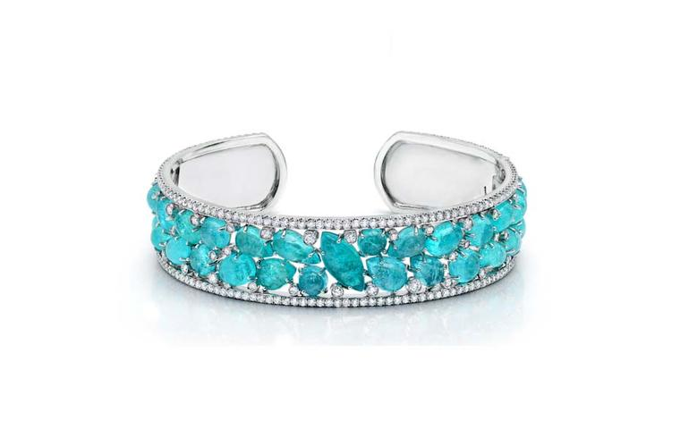 Martin Katz bracelet set with 27 cabochon Paraiba tourmalines accented with diamonds, set in white gold.