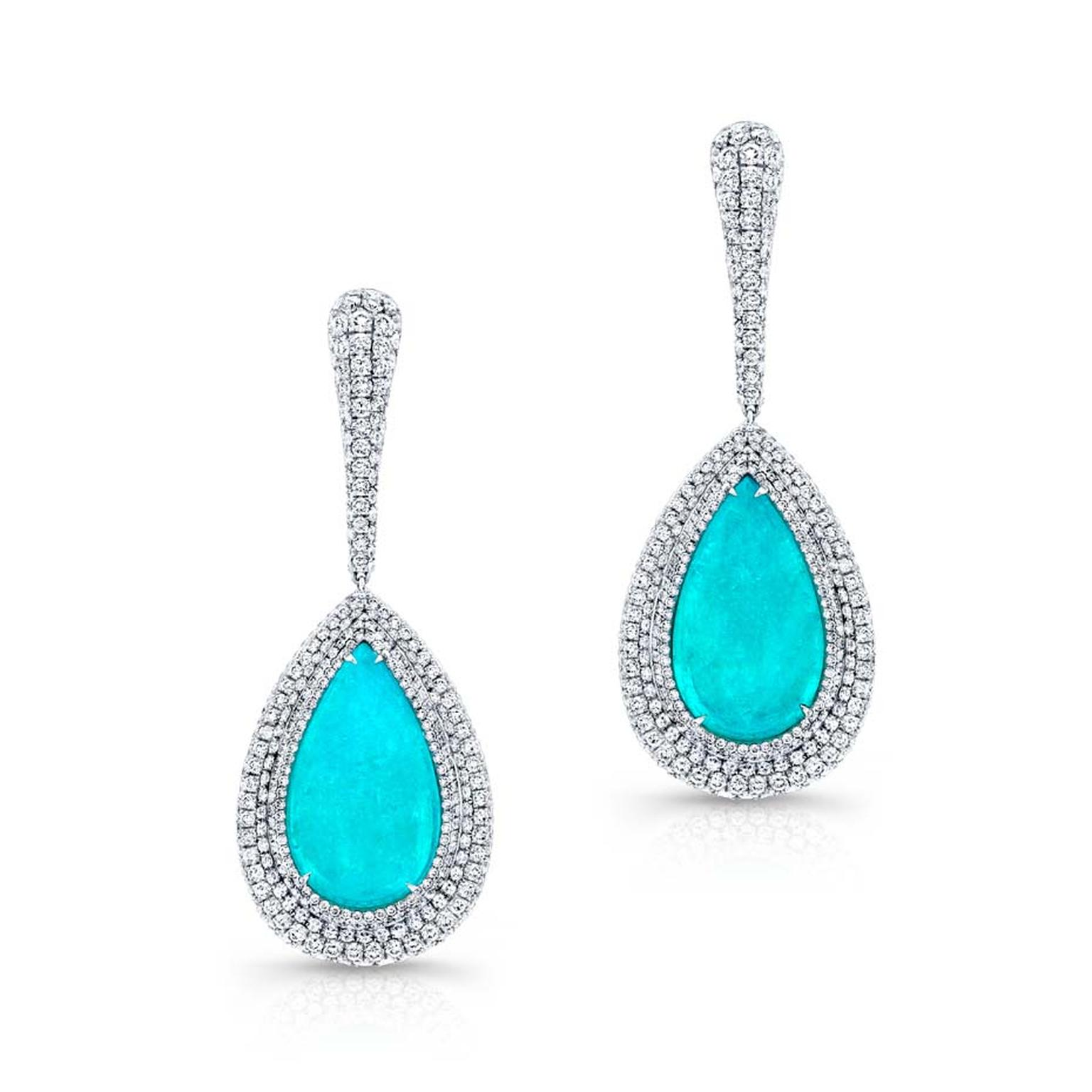 The unrivalled beauty of the Brazilian Paraiba tourmaline shines through in this pair of Martin Katz cabochon drop earrings.