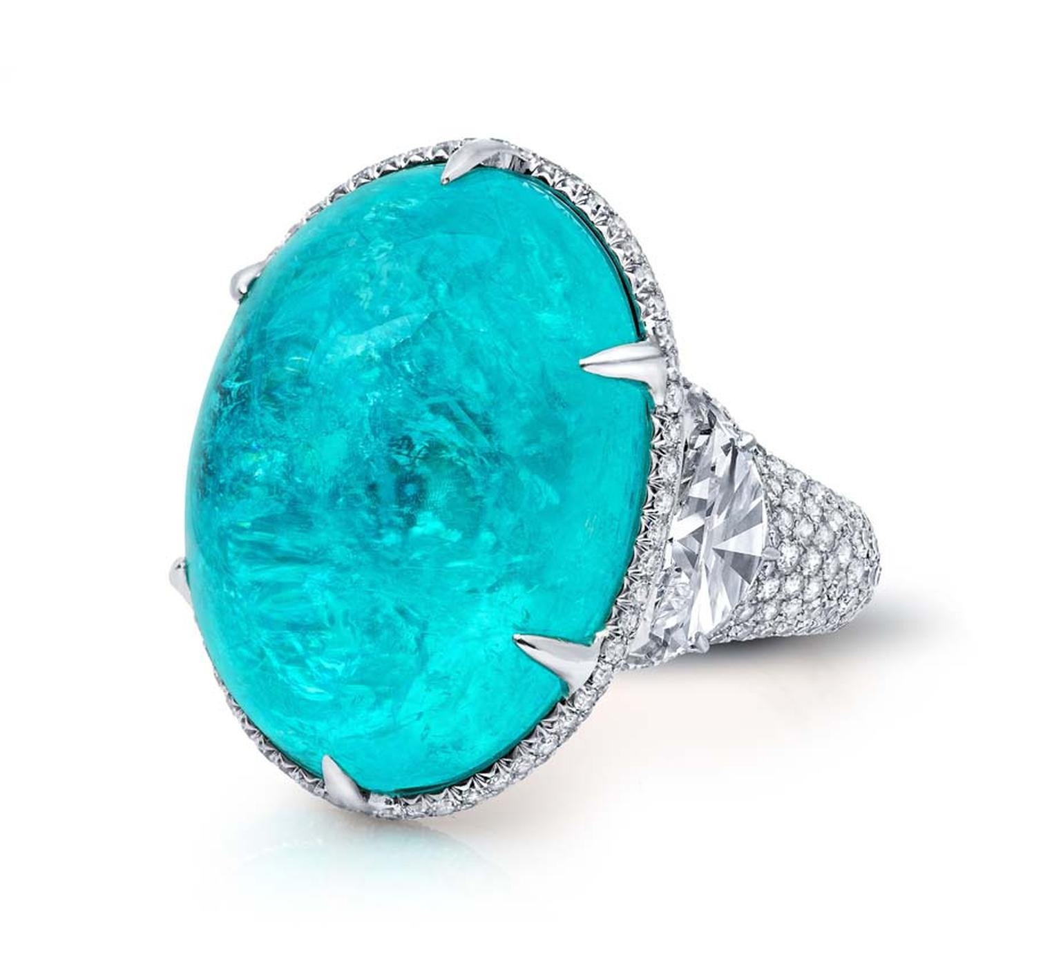 Beverly Hills-based Martin Katz shows off his uncompromising craftsmanship in the new Paraiba collection, which showcases vivid turquoise Paraiba tourmalines of perfect clarity that have been collected by Katz over the years.